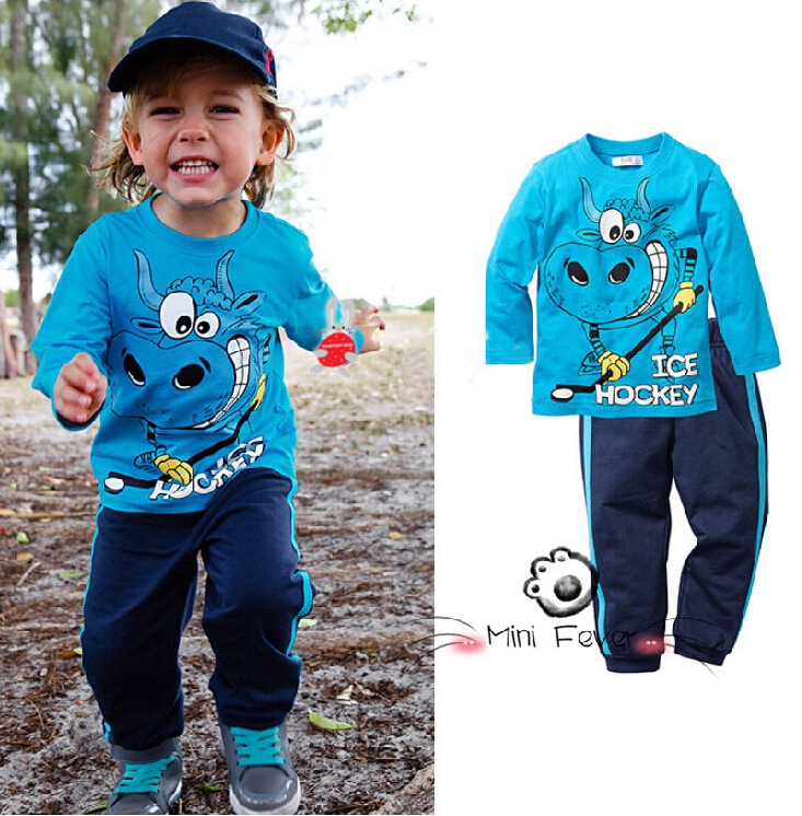 2015 Autumn Baby Boys Ice Hockey Long-sleeved T-shirt Casual Pants 2 Piece Suit Toddler Kids Clothes Suit Children's Outfits Set(China (Mainland))
