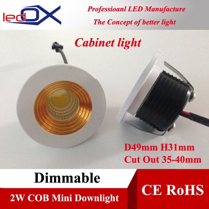LEDOX M2C07 2W COB LED dimmable Cabinet light mini downlight downlights Free ship(China (Mainland))