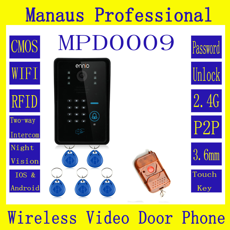 High Quality WIFI Wireless Video Door Phone System with home alarm system Card Unlock Function & Remote Wireless Control D9C(China (Mainland))