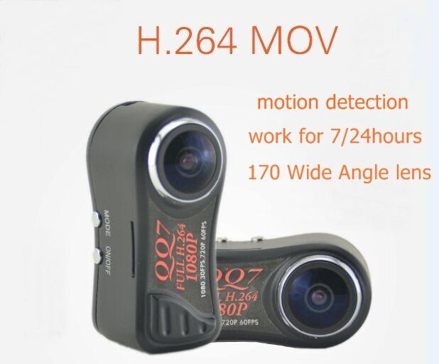 Smallest Camera DV QQ7 FULL HD 1080P Mini DVR H.264 Mini Camcorde r+ 185 Wide Angle digital cameras(China (Mainland))