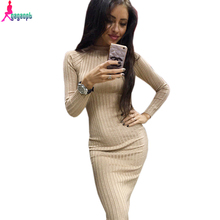Gagaopt 2016 Brand Women Winter Dress Black Office Robe Sexy Bodycon Pencil Long Sleeve Ribbed Midi Dress Vestidos D1157(China (Mainland))