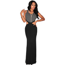 Sexy Club Party Dresses 2016 Black White Striped Floor Length Maxi Dress Women Hollow Out Bodycon Long Dress Vestidos Longo 1832(China (Mainland))