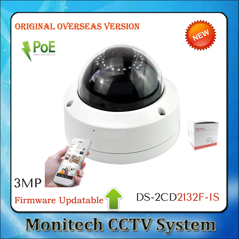 Original HIK Overseas Version Updatable DS-2CD2132F-IS ONVIF POE Outdoor IP66 3MP HD 1080P Dome Network Security CCTV IP Camera(China (Mainland))