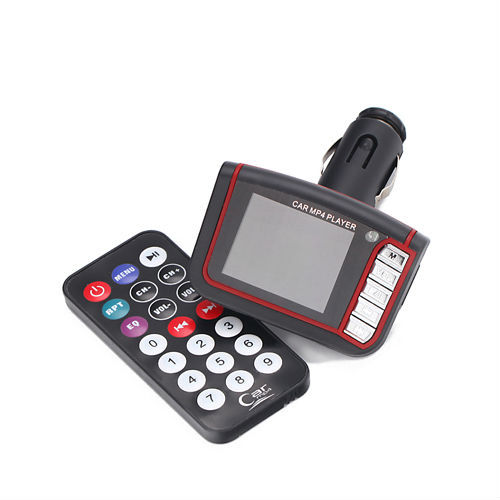 "HOT 1.8"" LCD Wireless Car MP4 MP3 Player FM Transmitter SD MMC USB Black Free Shipping"