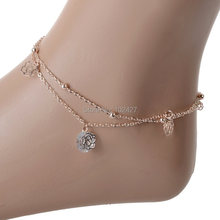1X Sexy Crystal Double Layer Gold Plated Anklets for Women Hollow Rose Flower Ankle Bracelet Barefoot Sandals Beach Foot Jewelry