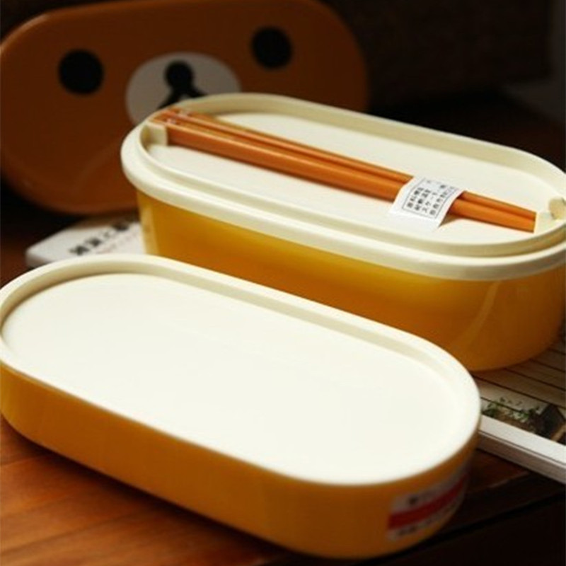 buy 1 pcs double layer heat resistant rilakkuma bento container lunch box with. Black Bedroom Furniture Sets. Home Design Ideas