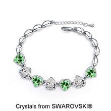 Women's Romantic 100% Original SWAROVSKI ELEMENTS 7pcs Heart Shaped Crystals Bracelets for Valentine's Day Gift 16938(China (Mainland))