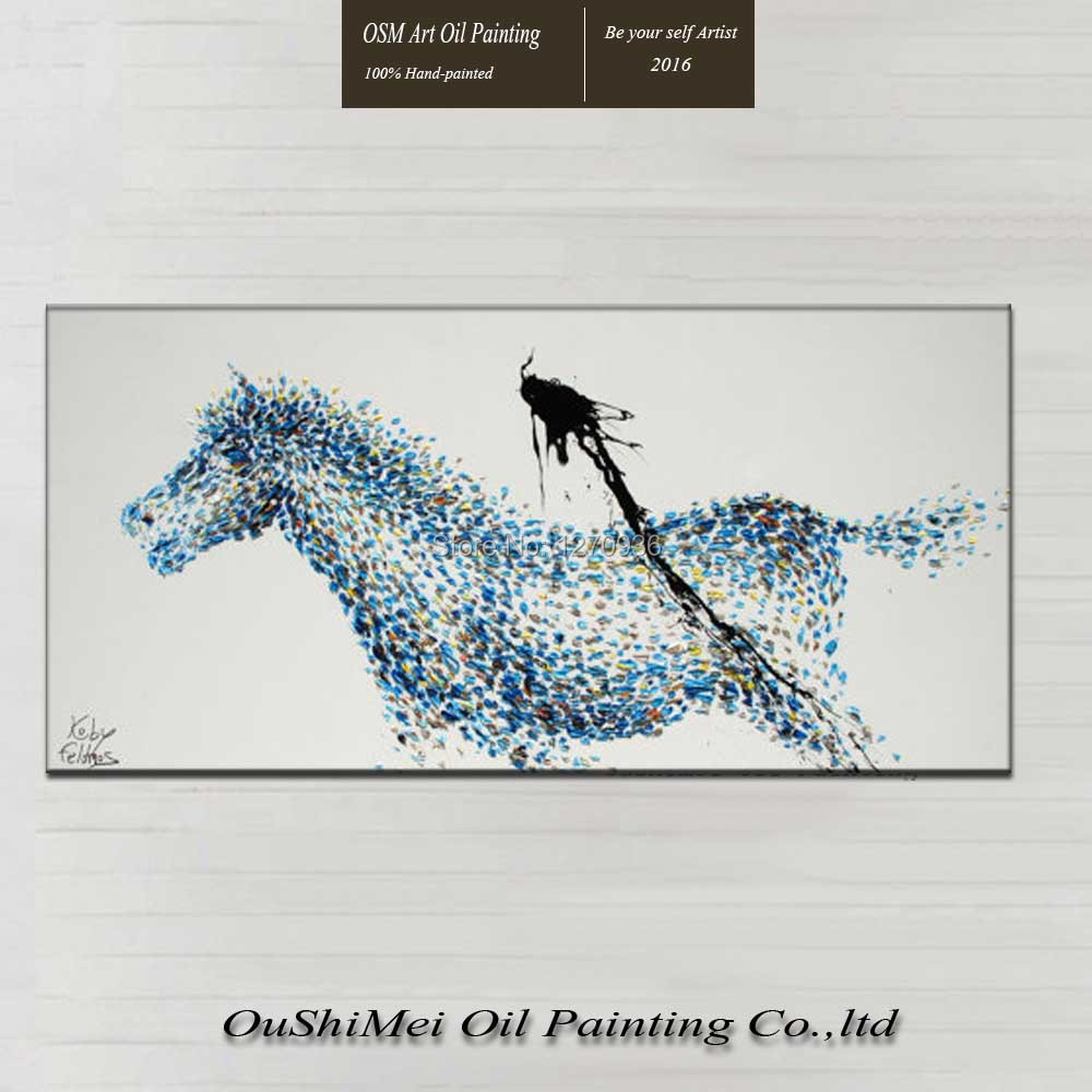 Horses are run mysterious blue classic colors robust classic Mustang pure hand-painted canvas oil painting decorative painting(China (Mainland))