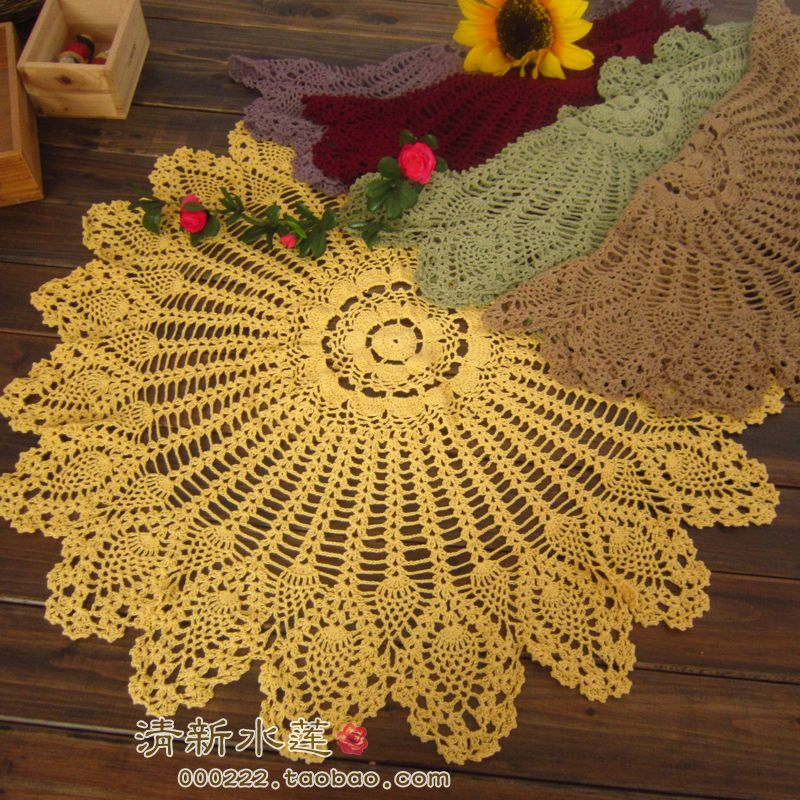 French style fashion Handmade crochet 100% cotton knitted cutout decoration flower circle table cloth for home decoration(China (Mainland))