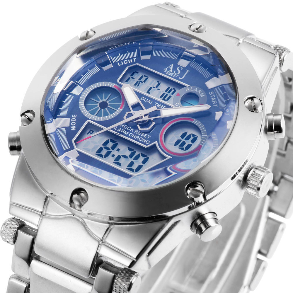 2015 new fashion stylish sport water proof steel ASJ clock army LED digital men military outdoor wrist quartz swimming watch 105(China (Mainland))