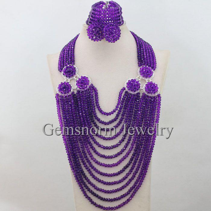 African Purple Beads Jewelry Set Nigerian Traditional Beads Wedding Jewelry Set Bib Necklace Set Free Shipping WA120<br><br>Aliexpress
