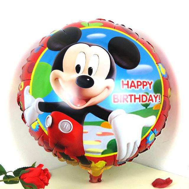 Бесплатная доставка 3 шт./лот круглый микки воздушный шар с днем рождения ну вечеринку украшения микки шар мультики шаров подарок balao