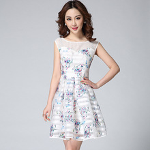 2015 Fashion Three-dimensional Embroidery Tulle Striped organza Patchwork Slim Sleeveless Short Dress Sweet Cute Skater Dress