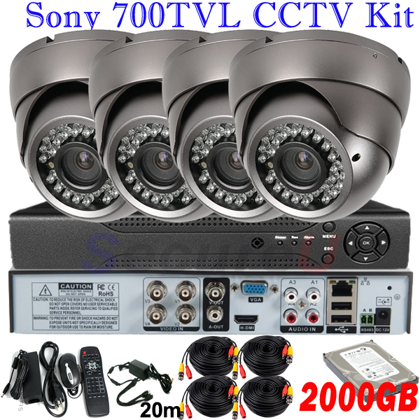 4ch channel surveillance video kits cctv security system 700TVL ir night vision high focus vandal proof dome camera 4ch HD DVR(China (Mainland))