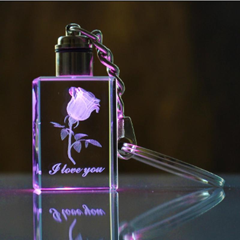 Colorful K9 Laser Engraved Rose Flower llaveros Customized LED huarache chaveiro llaveros mujer porte clef portachiavi Souvenir(China (Mainland))