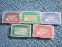 Hot sale pokemon game bundle for gba game playing 5pcs/lot emerald, ruby, sapphire, leafgreen, fire red(China (Mainland))