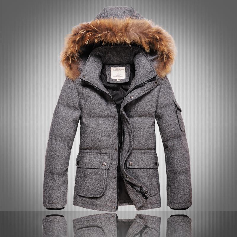 top quality 2015 new down jacket men whte duck down filler hood winter coat men thicken