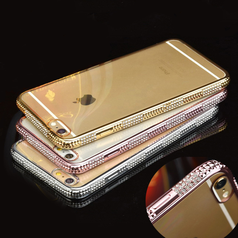 Luxury Bling Rhinestone Frame Case For iphone 6 6s 6 plus Ultra Thin Clean Soft TPU Crystal Diamond Fashion(China (Mainland))