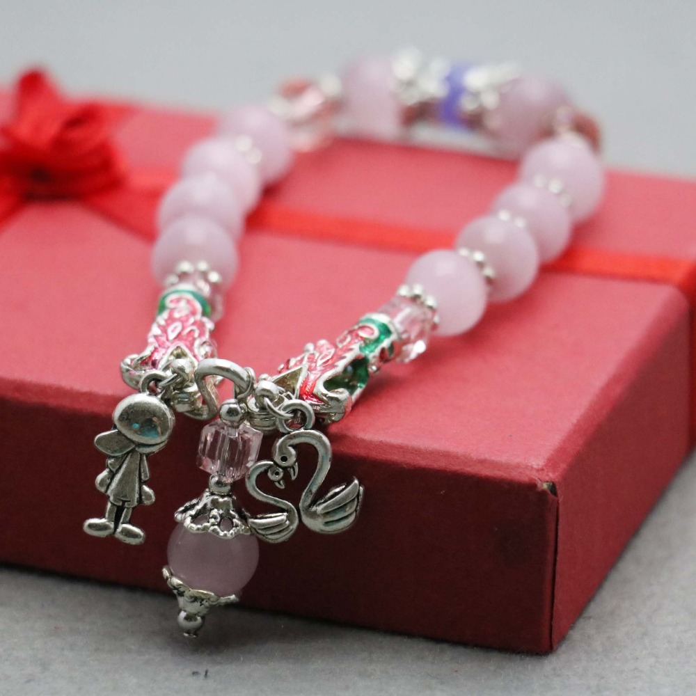 Bohemia Style Pink Cat Eyes Beads Chalcedony Lucky Bracelet Hand Cain For Women Girls Tibet Silver Pendant Jewelry Making(China (Mainland))
