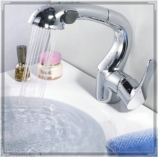 . Bathroom Faucet With Pull Out Sprayer