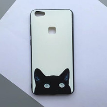 Novelty Black Cat Kitty Back Phone Case Huawei P9 Plus 5.5 inch Fashion TPU Protective Shell Personality - Gucoon Direct Store store