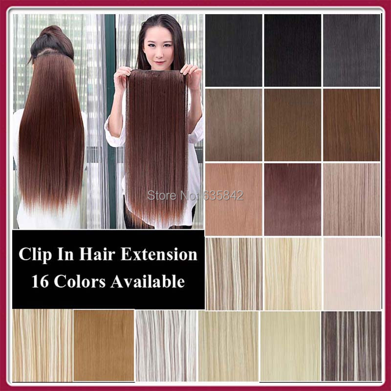 "5Clips Heat Resistant Fiber Synthetic Clip in Hair Extensions Straight 24"" 60cm 120grams More Color Women Hairpiece Accessories(China (Mainland))"