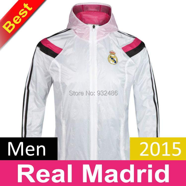 Top 2015 Real Madrid Anthem Jacket dust coat wind coat Training jacket Training Sportswear windbreaker jacket Football jacket(China (Mainland))