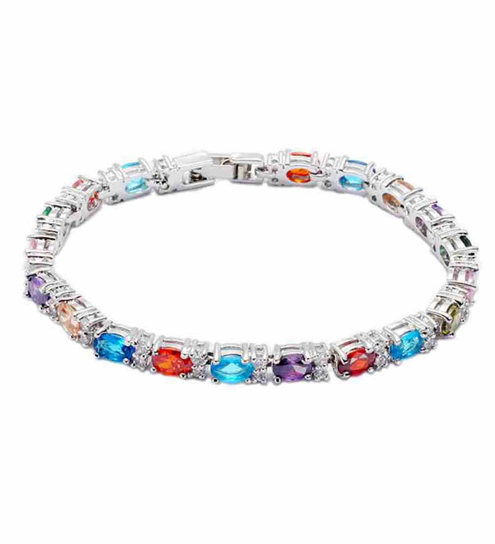 New pattern Silver Plated Bracelets Red Pink Morganite Blue Yellow Peridot Amethyst Cubic Zirconia E675 Noble Generous Favourite(China (Mainland))