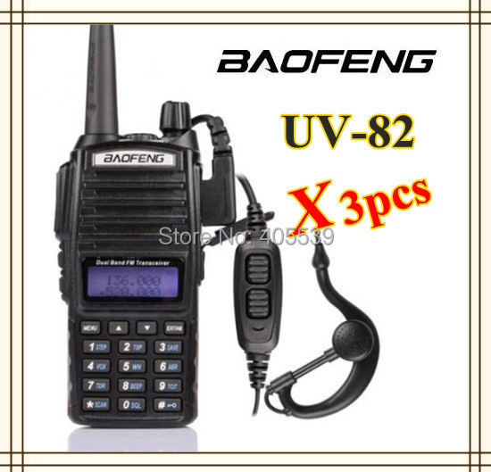 3pcs/lot free shipping Baofeng walkie talkie UV-82 Dual Band Dual display with Double PTT Button earphone transceiver UV82