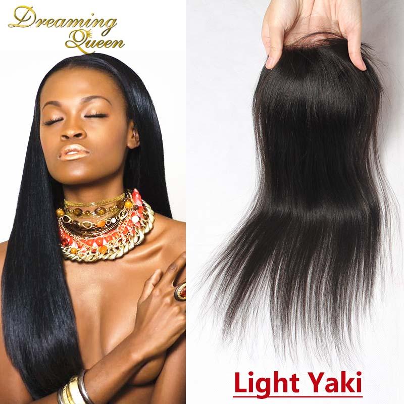 Brazilian Light Yaki Lace Closure Permed Yaki Coarse Yaki Closure Virgin Human Hair Closure With Part Swiss Lace Bleached Knots<br><br>Aliexpress