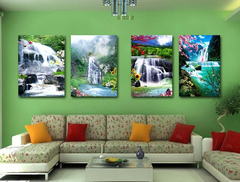 4 piece wall art Free Shipping waterfall abstract Oil painting On Canvas print Art Deco for home decoration572(China (Mainland))