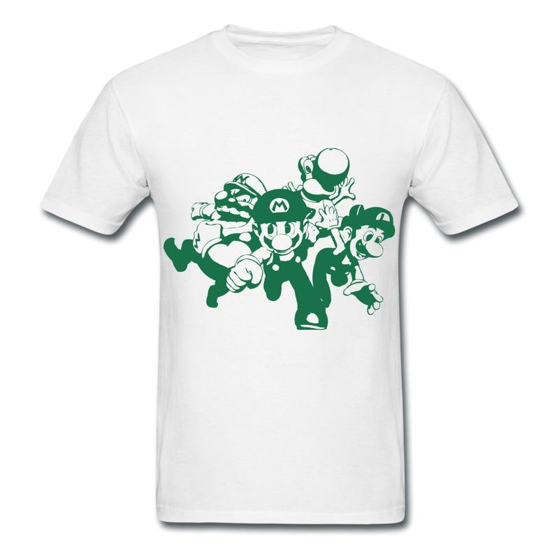 Customize Short Sleeve Mans Tshirt Mario Luigi Mario Wario and Yoshi running competition Funny Photo T-Shirts Mens 2014 New(China (Mainland))