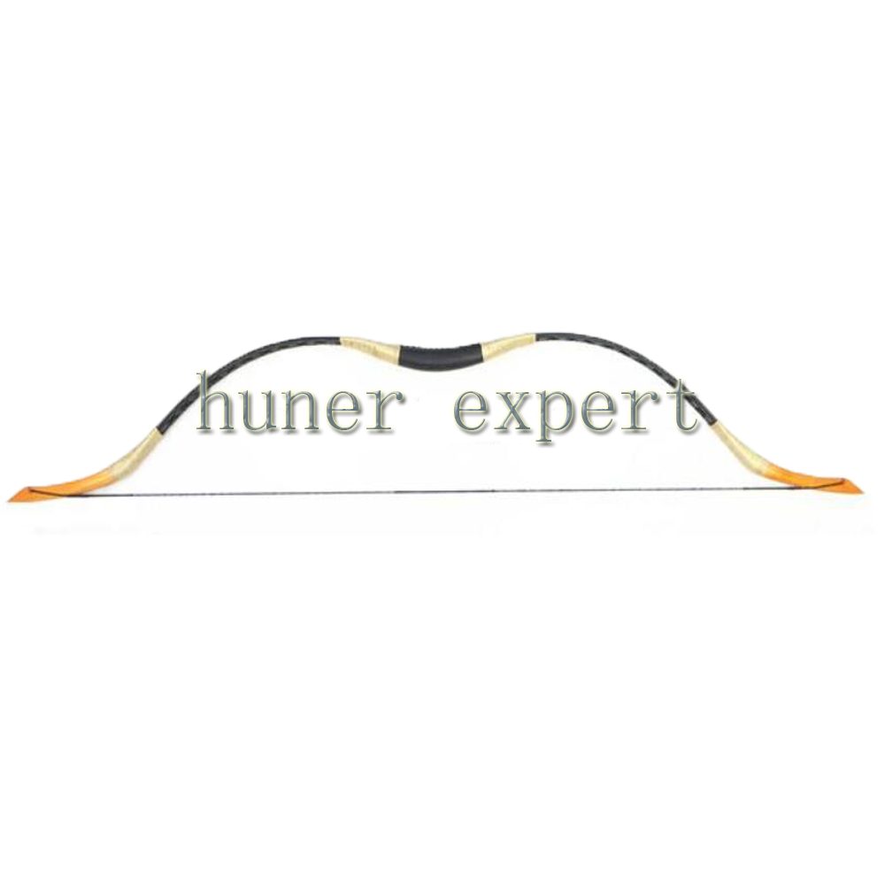 Archery recurve hunting bow 55lbs handmade china traditional black hogskin longbow 55 Left or right handed<br>