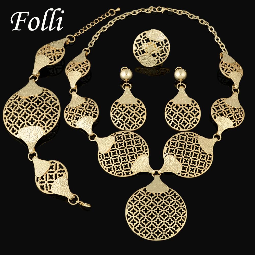 2015 Fashion Dubai  Gold Plated Jewelry Sets 18K  Costume Big Jewelry Set Design Nigerian Wedding African Beads Jewelry Sets