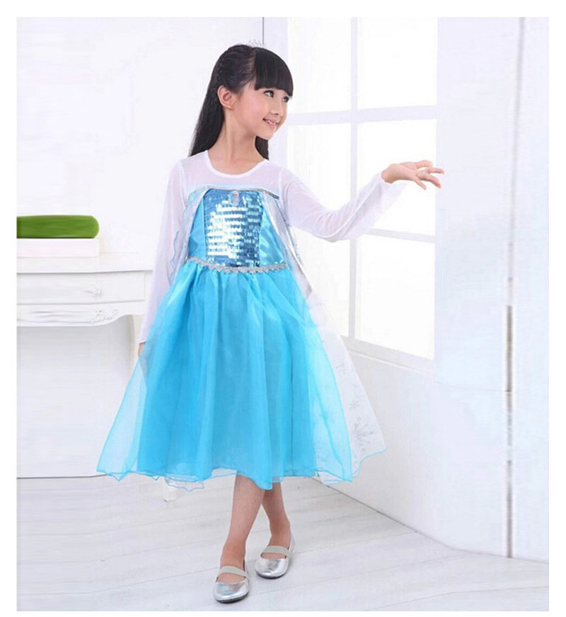 Kids Summer Girl Dress Frozen cartoon blue Toddler Elegant Pageant wedding dresses clothes Cosplay Formal Party costome princess
