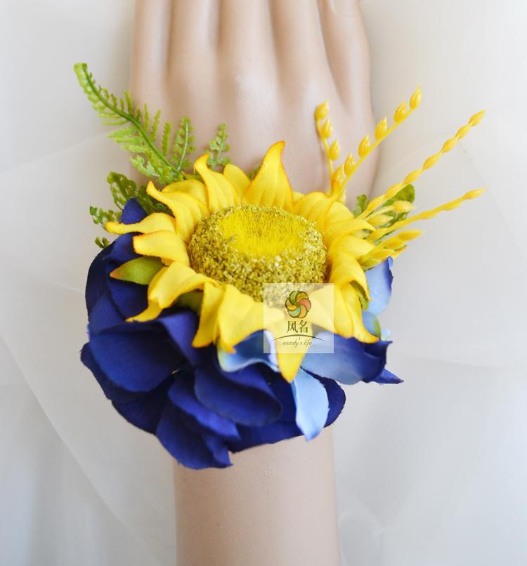 5Pcs/set New Style wedding party prom mother bridesmaid bridal hand Wrist flower Yellow sunflower blue Hydrangea women corsage(China (Mainland))