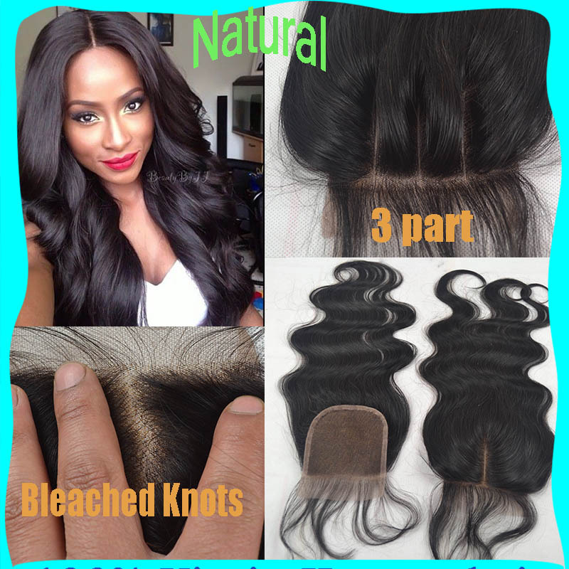Brazilian Lace Closure Bleached Knots 7A Virgin Human Hair Closure 4*4 Brazilian Body Wave Closure 3/Middle/Free Part Closures(China (Mainland))