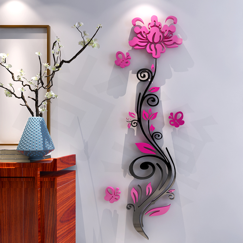 Free shipping roses 3d stereo acrylic wall stickers bedroom living room entrance backdrop warm creative home decorations