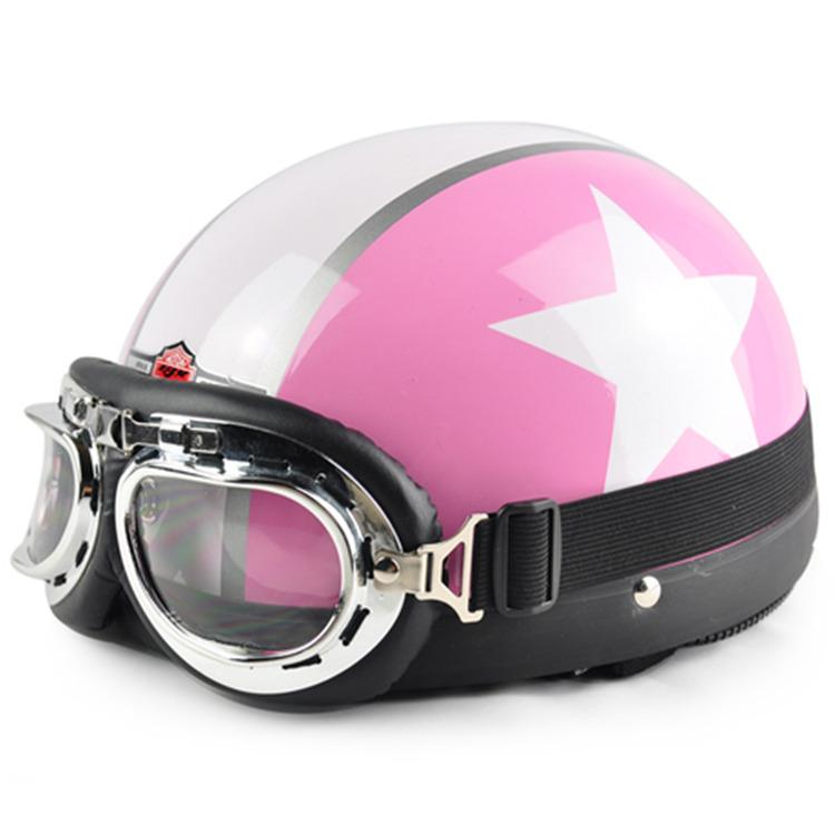 2016 women Open Face Half pink Motorcycle Motorbike Helmet & Goggles & Visor Motocross Capacete Moto Helmet(China (Mainland))