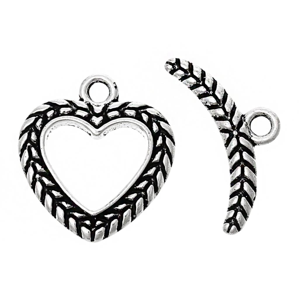 "Zinc metal alloy Toggle Clasps Heart Antique Silver 19mm x 17mm( 6/8"" x 5/8"") 21mm x 10mm( 7/8"" x 3/8""), 4 Sets 2016 new(China (Mainland))"