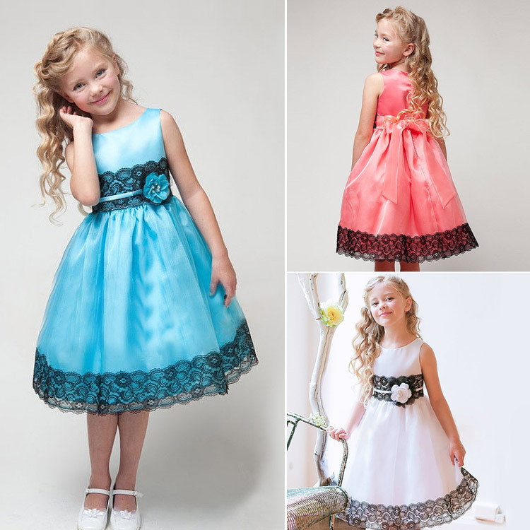 2015 Summer Kids Lace Princess Dress for Baby Girls Sleeveless Solid Party Dresse Children Girl Tutu Dresses with Bow CA119(China (Mainland))