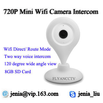 Mini WiFi 720P HD - Wireless IP Camera - Two Way Audio Home Security Network Camera Plug Play iPhone Mobile View Setup(China (Mainland))