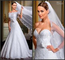 New Style Off Shoulder Short Sleeve Flower Belt A Line White Lace Wedding Dress with Jacket