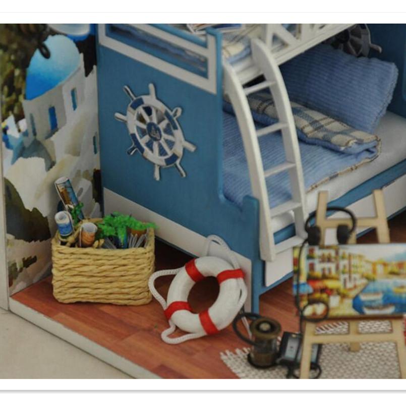 Diy Doll Home Miniature 3D Wood Puzzle Dollhouse Miniaturas Furnishings Home Doll For Birthday Reward Toys,Aegean Sea Tour