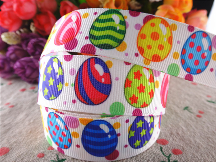 WQ16020607, new arrival 7/8'' 22mm 10 yards easter printed grosgrain ribbons birthday party decorations ribbon handmade hairbows(China (Mainland))