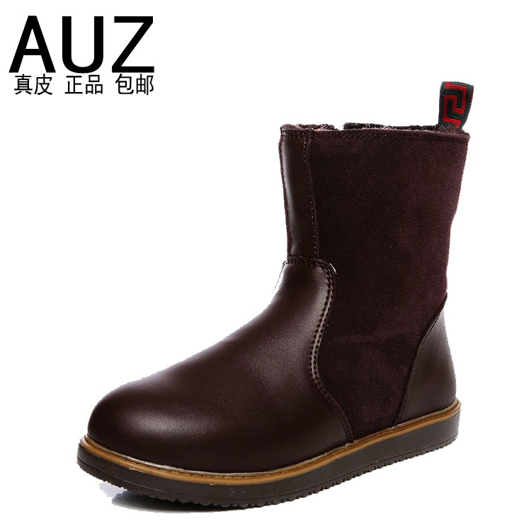 Snow boots women's shoes side zipper genuine leather boots plus size winter lovers boots 41 42 43(China (Mainland))