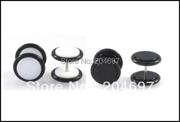 Mix 120pcs 8mm Black & White Acrylic Fake Ear Expander Plug Earrings Ear Stud Body Piercing Jewelry