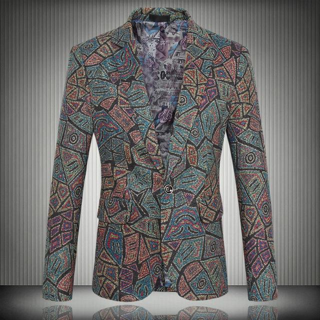 Высокое качество 2016 новый большой размер шерстяной костюм мужской мода печать тонкий ...
