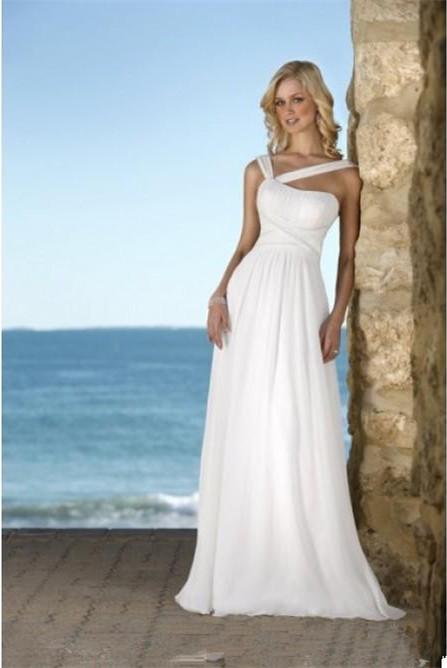Vestidos de noiva Free Shipping ! 2016 New Arrival Chiffon Bridal Gown Fold Playa White & Ivory Beach Wedding Dresses OB00193(China (Mainland))