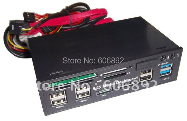 """Free shipping 5.25"""" COMBO Media Dashboard Internal all in one card reader with USB3.0 HUB ESATA  ide 1394 port"""